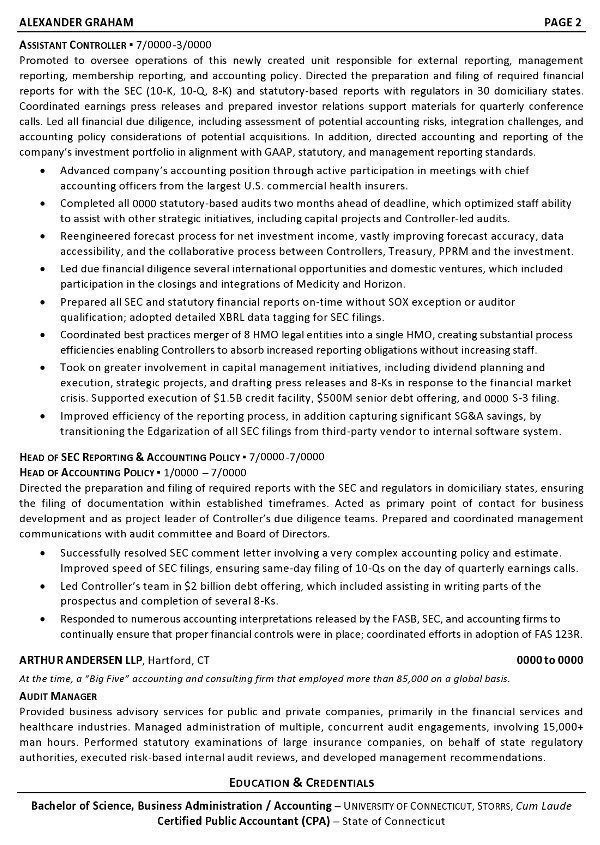 Resume Sample 6 Controller Chief Accounting Officer
