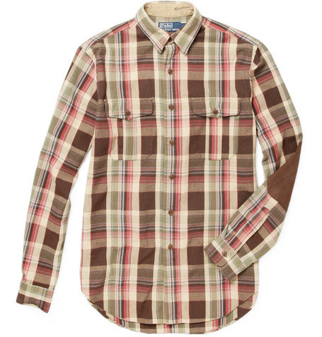 Polo Ralph LaurenPlaid Shirt with Suede Elbow Patches