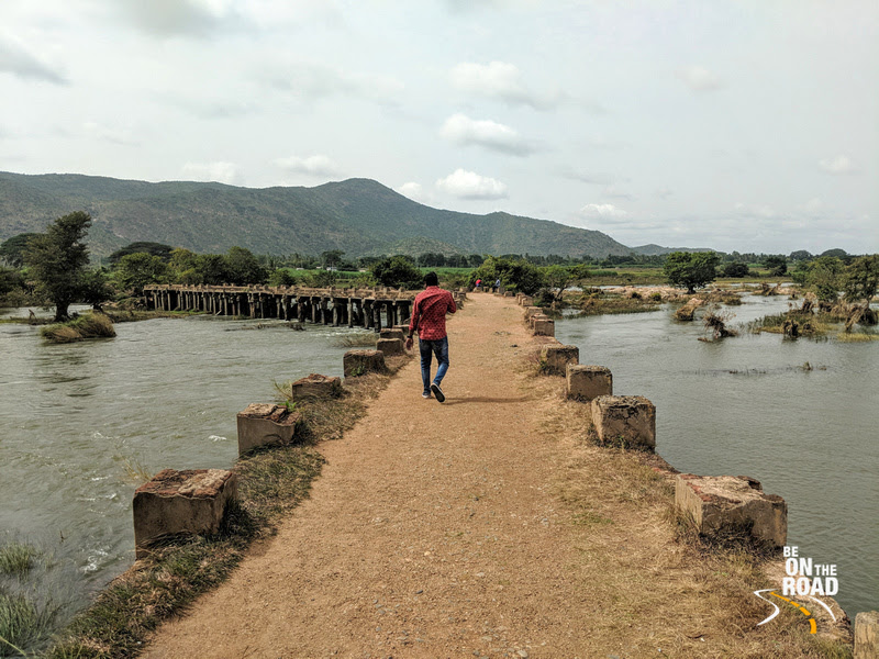 The ancient stone bridge on the river Cauvery
