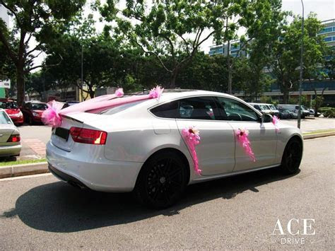 White Audi S5 Wedding Car Decorations by Ace Drive Car Rental