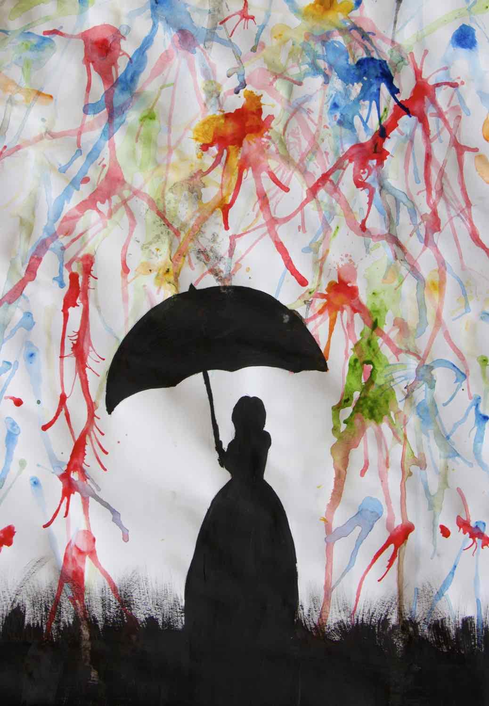 mädchen mit regenschirm zeichnen  vorlagen zum ausmalen
