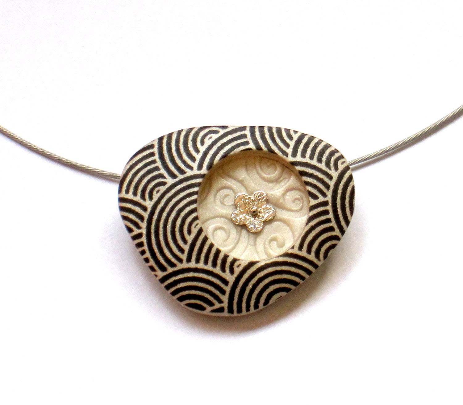 Polymer Clay Pendant Necklace Modern Art jewelry black spiral print on pearl triangle shape - OrlyFuchsGalchen