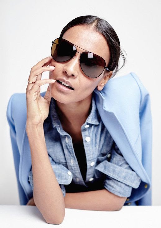 Le Fashion Blog JCrew Black Classic Aviator Sunglasses Lookbook Liya Kebede Blue Blazer Chambray Shirt