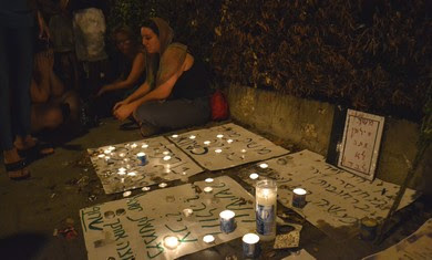 Candle-light vigil for Moshe Silman in Tel Aviv