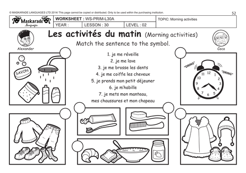 FRENCH (UNIT 6: FRIENDS/ACTIVITIES/TIME): Y4-Y5: Daily routine! by ...
