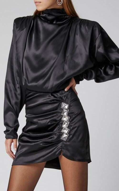 Alessandra Rich Silk Satin High Neck Mini Dress