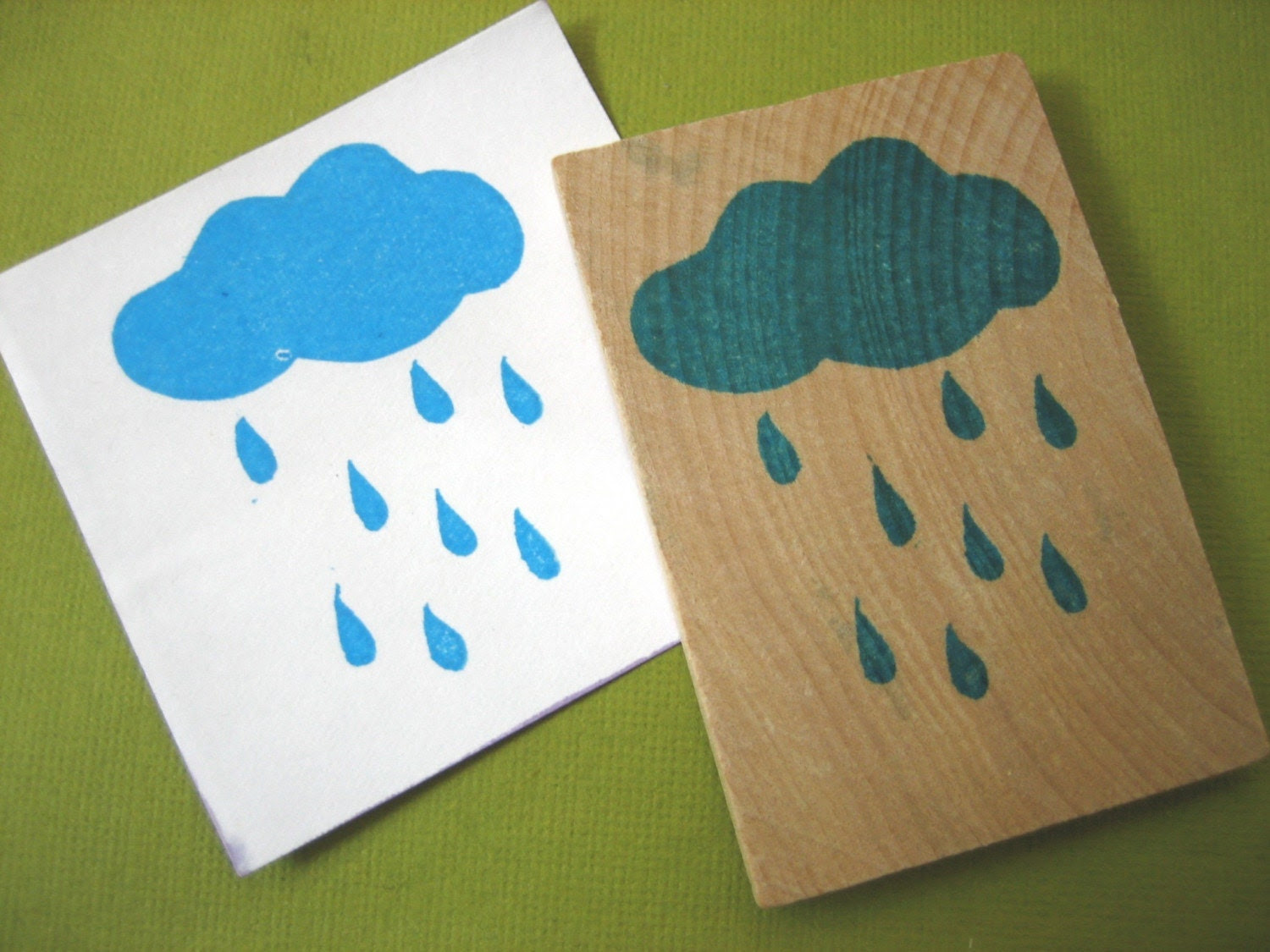 Rain Cloud Hand Carved Rubber Stamp