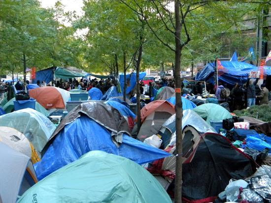 Liberty with tents