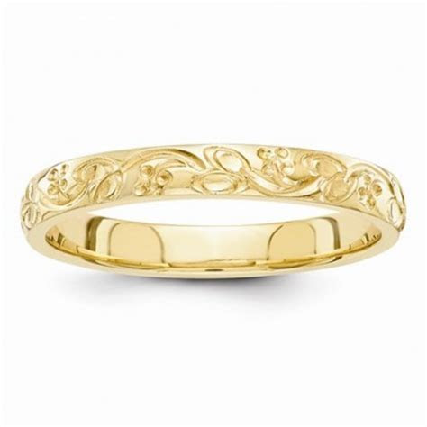 14k Yellow Gold Hand Engraved Floral Scroll 3mm Wedding Band