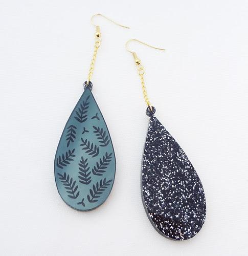 Black Mirror Leaf Earrings