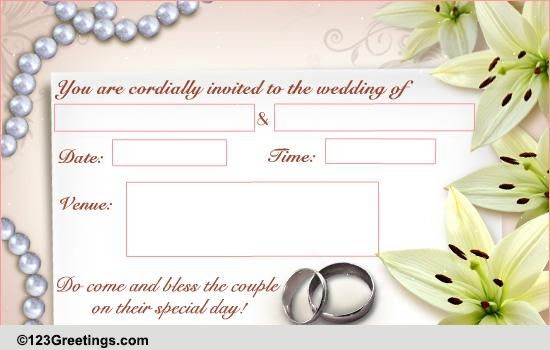 E Card Wedding Invitation: Editable Wedding Invitation Ecards