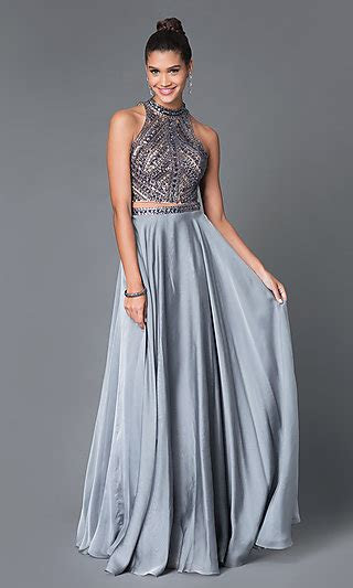 piece high neck long beaded gown