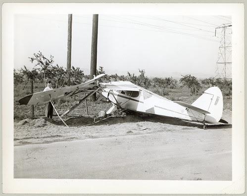 Wrecked light plane