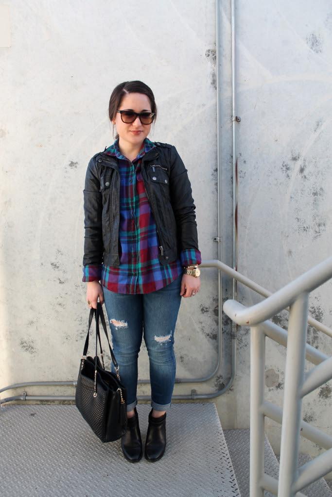 plaid-shirt-leather-jacket-destroyed-denim