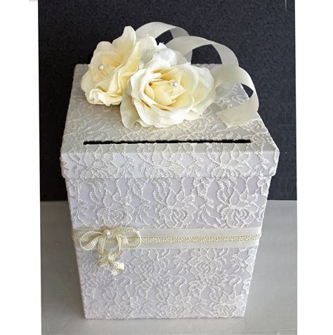 Wedding Card Box Ivory Lace White & Pearl Single by