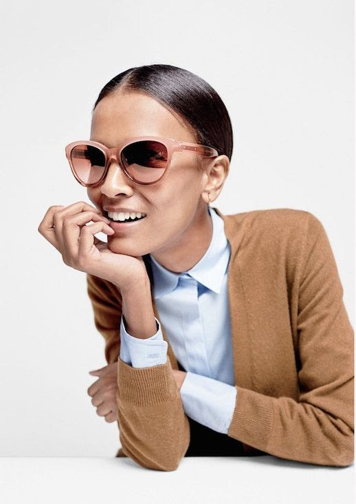 Le Fashion Blog JCrew Cat Eye Blush Sunglasses Lookbook Liya Kebede Camel Cardigan Blue Shirt