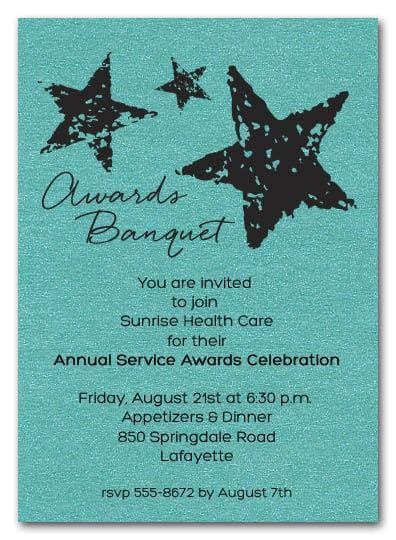 Stars on Turquoise Shimmery Business Awards Invitations