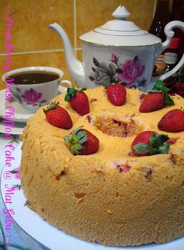 strawberry moist chiffon cake