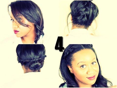♡4 Easy Hairstyles For School/Work On Natural Hair  YouTube