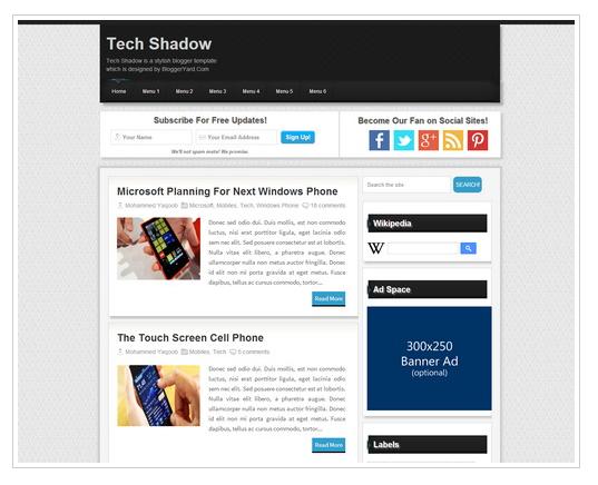 Tech Shadow Blogger Teması İndir