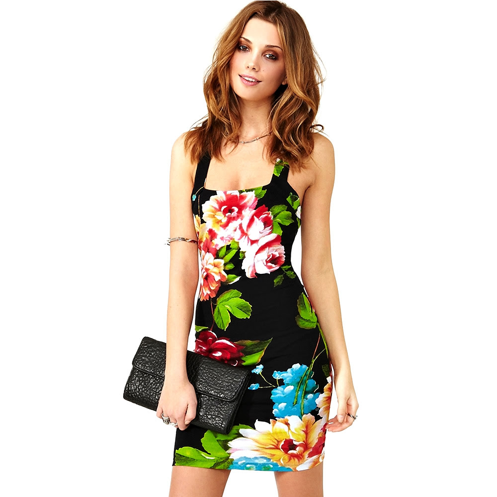 Ross black bodycon dress with red roses turkey