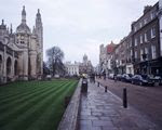 Kings College chapel and shops on the Kings Parade, Cambridge