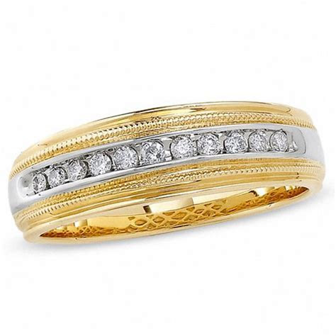 Men's 1/4 CT. T.W. Diamond Channel Milgrain Band in 14K