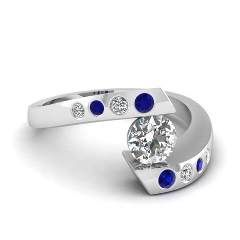 Tension Set Diamond Engagement Ring With Sapphire In 14K