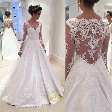White Lace Applqiue Sheer Long Sleeve Ball Gown Wedding