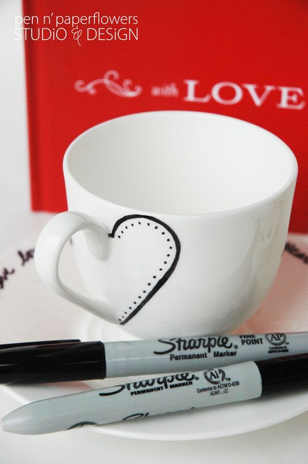 simply use a sharpie to personalize your teacups. clever! #valentine