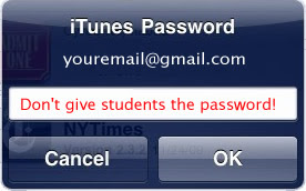 iTunes Password Warning