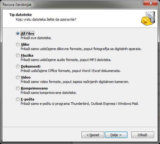vrsta datoteka za povratak Program za vraćanje obrisanih slika, muzike i drugih podataka sa diska