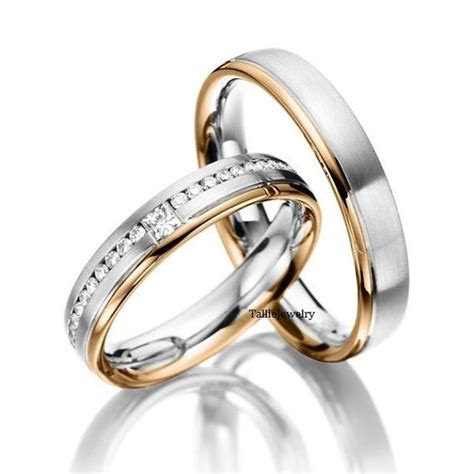 His & Hers Mens Womens Matching 14K White and Rose Gold