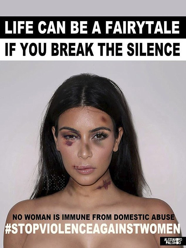 A-listers, including Kim Kardashian, have been given bruises and black eyes by artist and activist, aleXsandro Palombo, for the No Women is Immune from Domestic Violence