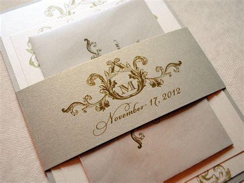Ivory, Champagne and Gold Wedding Invitations   Elegant