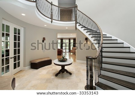 Foyer With Circular Staircase Stock Photo 33353143 : Shutterstock