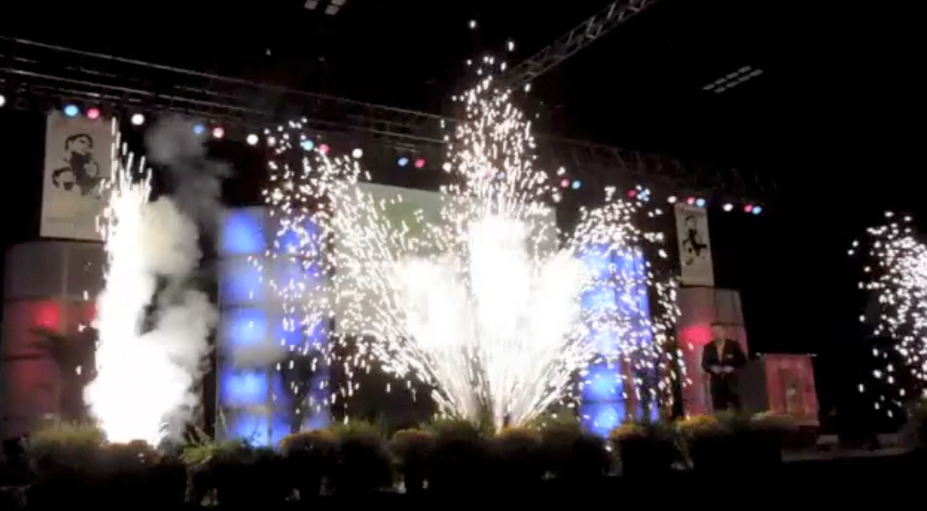 indoor  pyrotechnics gerb fountians at corporate event