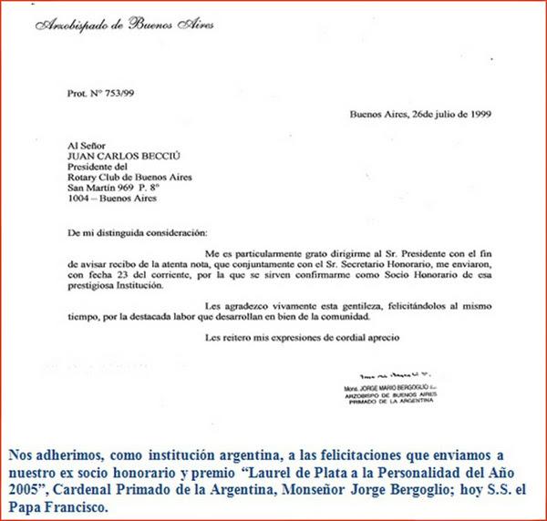 Bergoglio membro del Rotary Club