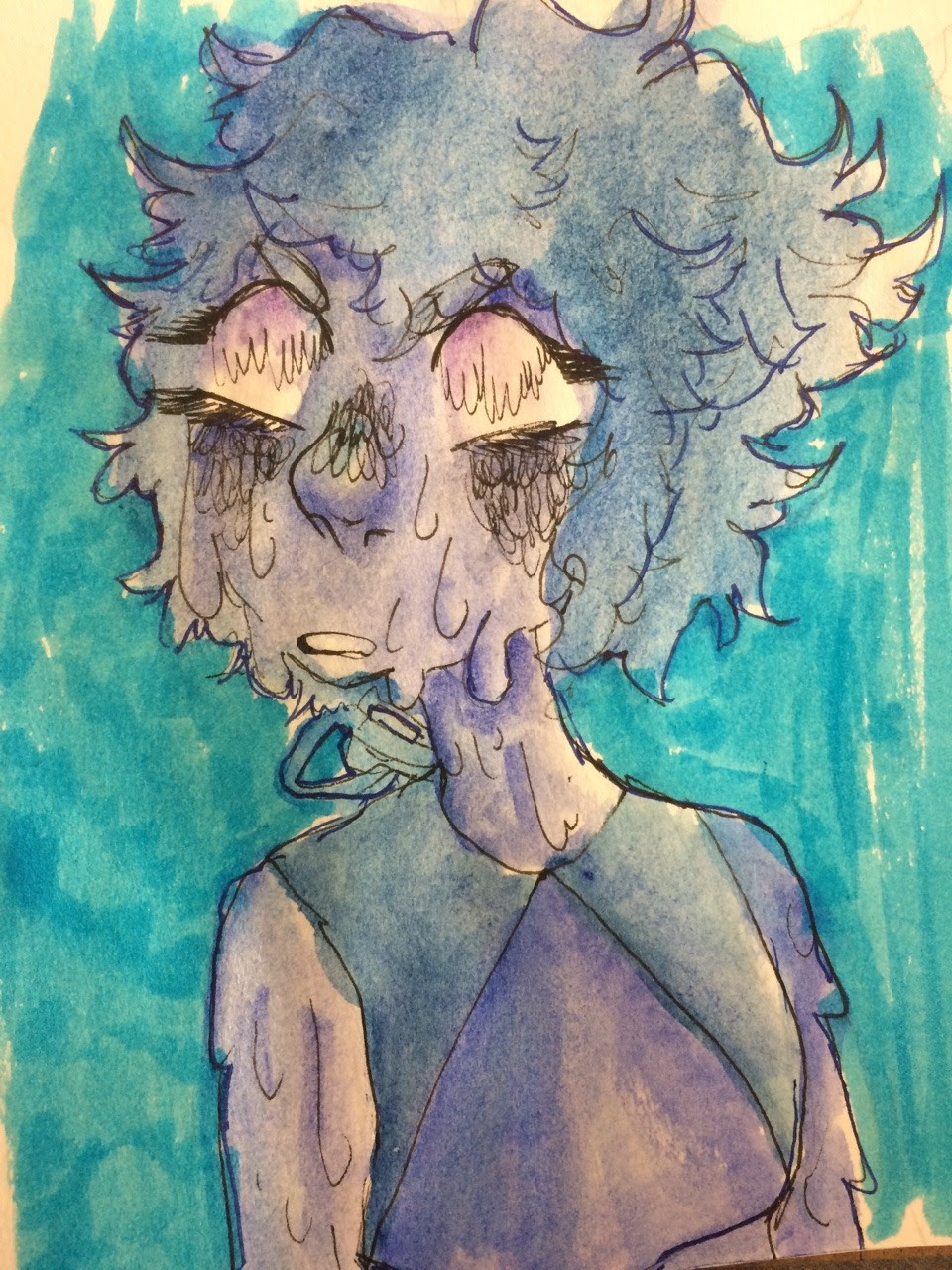 im personally not too much of a fan of su anymore but i like how ppl r drawing lapis like thjs