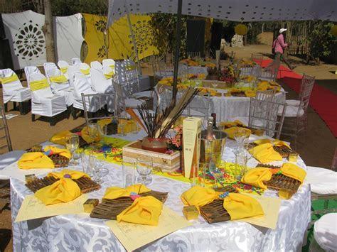 Tsonga traditional wedding decor in a farm   Tsonga