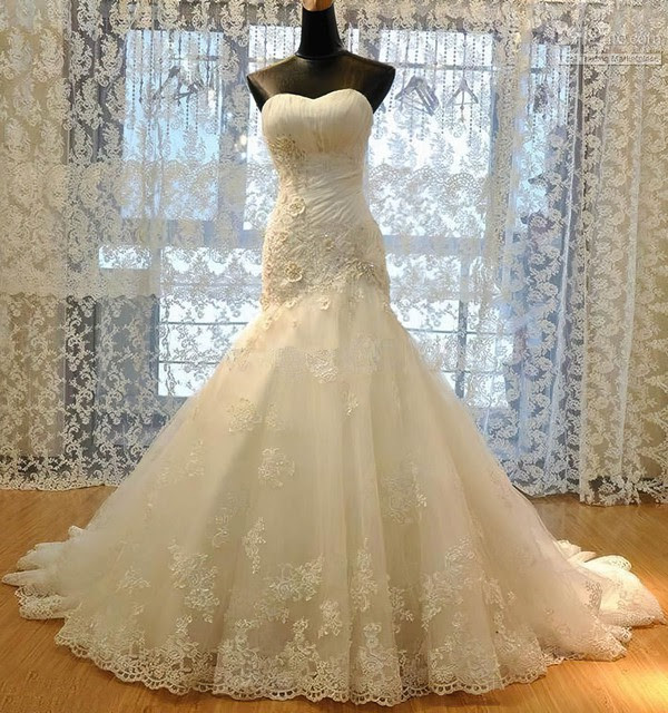 Tulle Sweetheart Trumpet/Mermaid Sweep Train with Appliques Lace Wedding Dresses #UKM00023009