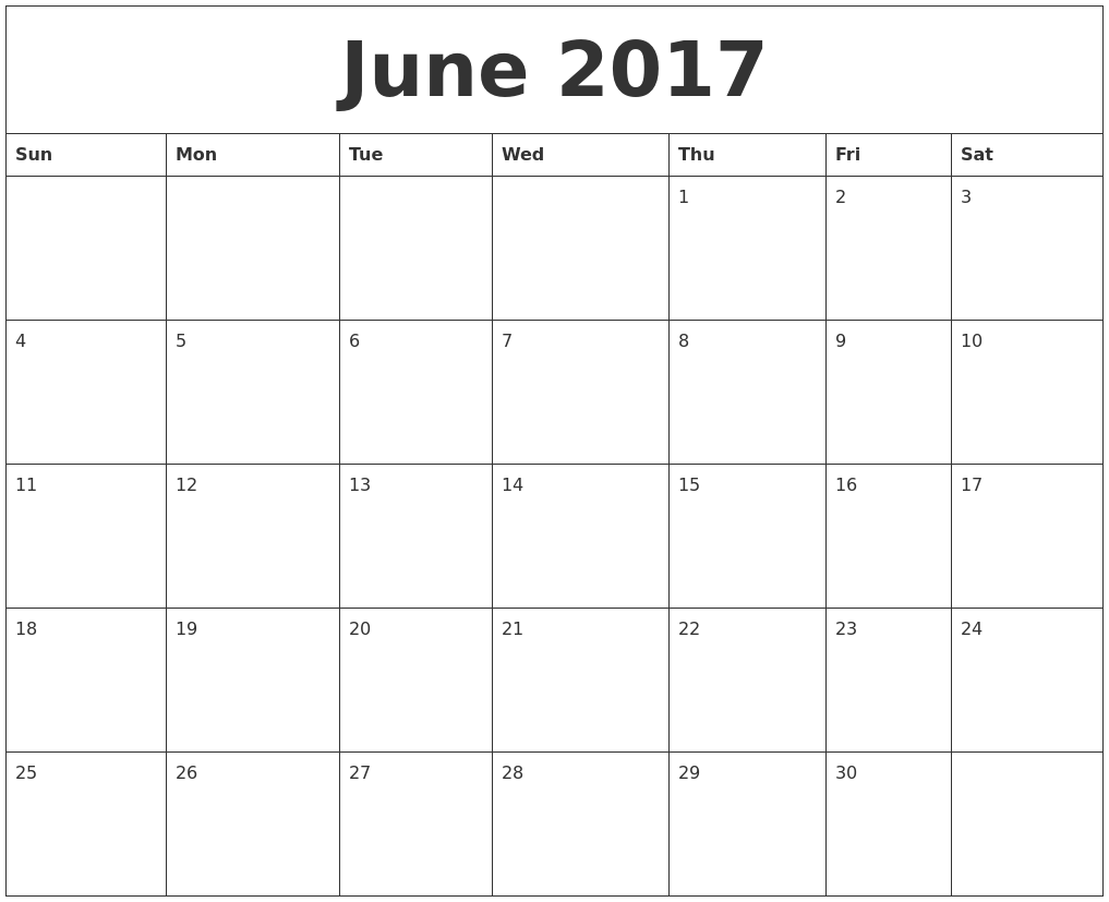 June 2017 Editable Calendar Template