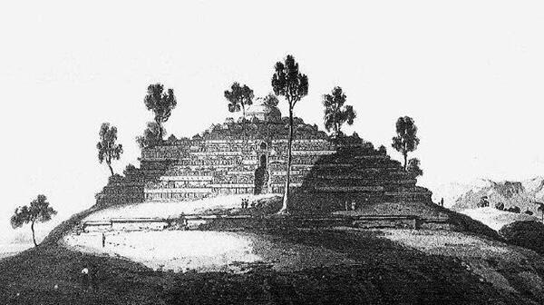Lihat Lukisan Candi Borobudur Saat Baru Ditemukanserupa Piramid