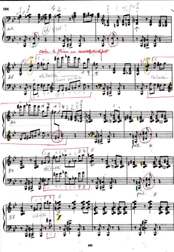 Page 2 - exposition du thème en accords avec l'ostinato sib do# à la basse - ensuite rupture du thème avec la phrase débutant mesure 26 et reprise quatre fois.