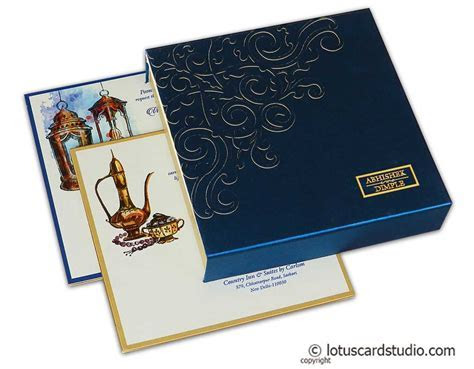 Blue Satin Box Wedding Card with Laser Cut Floral Design