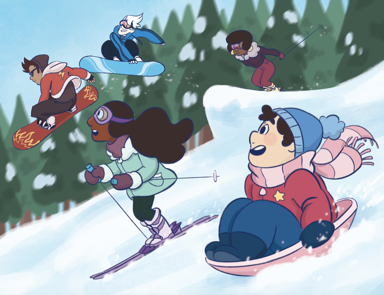 "The two pieces I contributed to a season-themed Steven Universe zine, ""Steven's Seasonal Scrapbook!"" It was a lot of fun to collaborate on this project with my friends. ^_^"