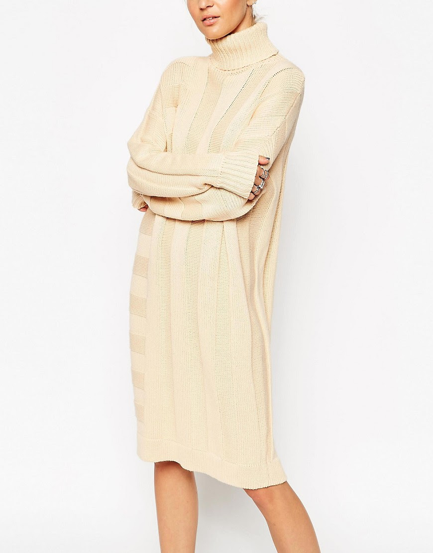 Image 3 of ASOS WHITE Ribbed Stripe Jumper Dress in Silk Cashmere Mix
