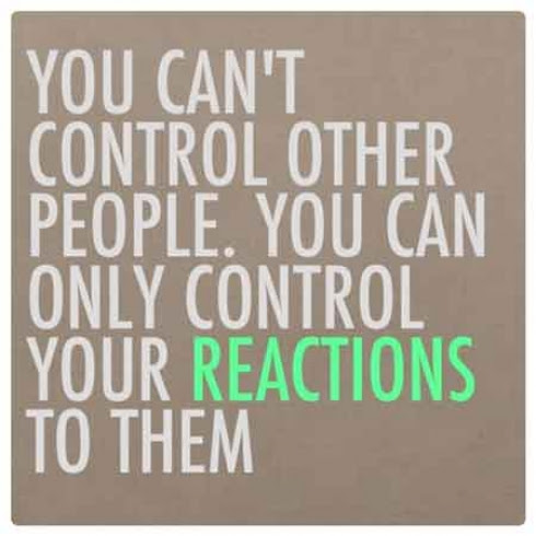 You Cant Control People You Can Only Control Your Reactions To Th