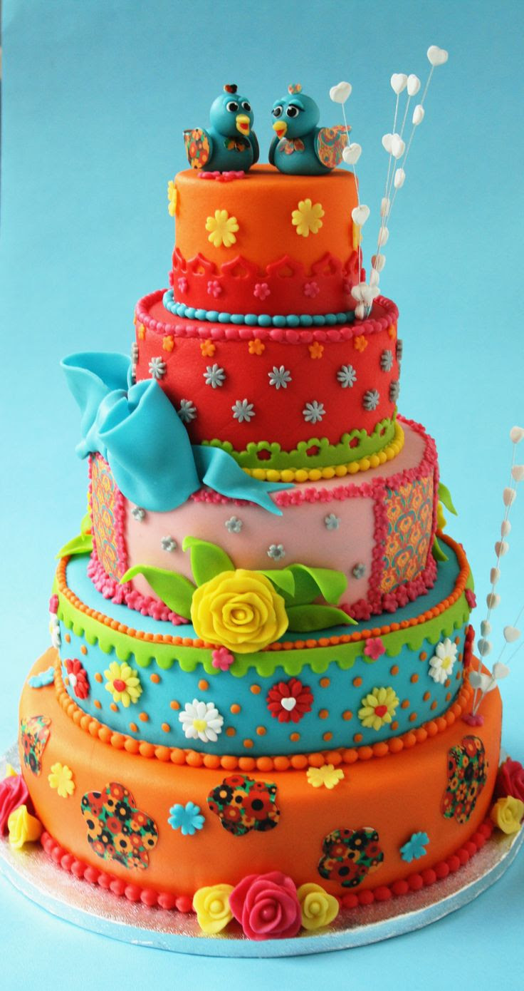 Colourful Wedding Cake By leonietje1 - (cakecentral)