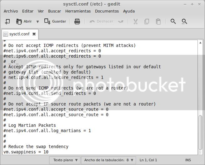 cambiando valores del archivo que maneja la RAM y SWAP